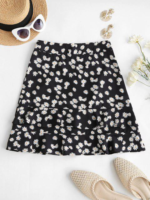 affordable Daisy Print Ruffles Mini Skirt - BLACK M Mobile