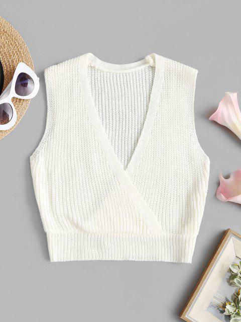 Haut Court Cache-Coeur sans Manches en Tricot - Blanc Taille Unique Mobile