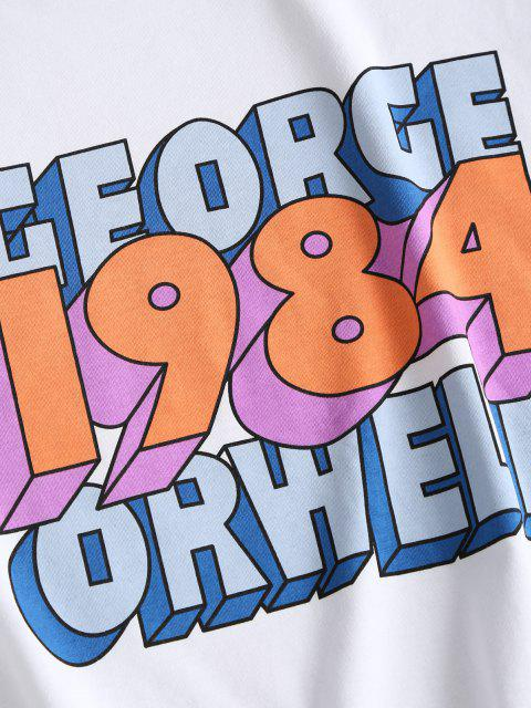 latest Boxy Raw Hem George Orwell Graphic Tee - WHITE M Mobile