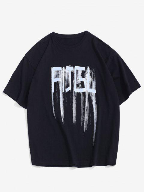 Letter Short Sleeve Loose Tee - أسود S Mobile