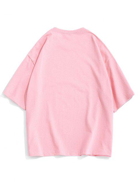 women Cartoon Animal Letter Loose Short Sleeve T-shirt - PINK 3XL Mobile