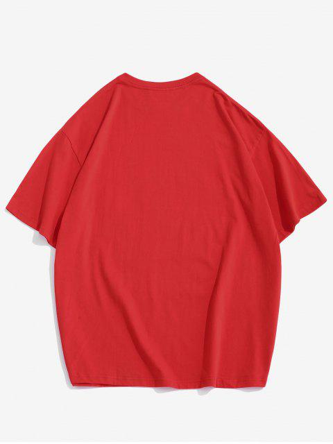 new Letter Short Sleeve Loose Tee - RED 3XL Mobile