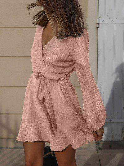 Ruffled Long Sleeve Belted Surplice Dress - Light Pink S