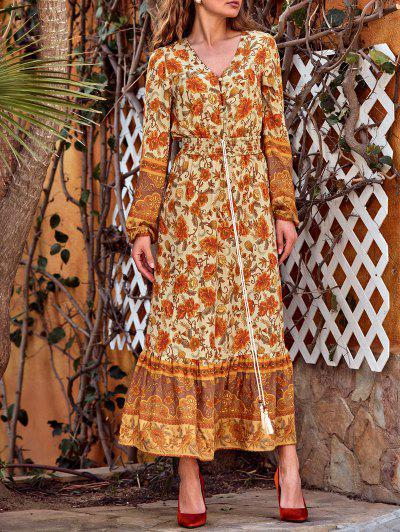 Maxi Vestido Con Borlas Con Estampados De Bohemia - Amarillo Profundo S