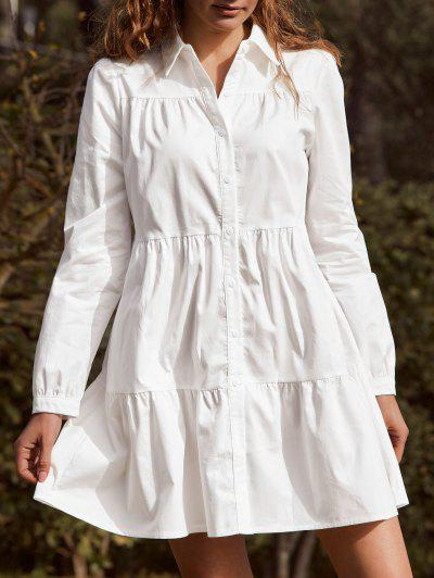 ZAFUL Vestido Camisa Casual De Manga Comprida - Branco L
