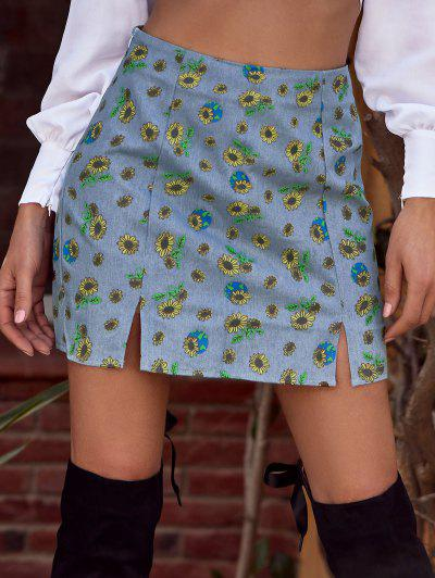 ZAFUL M-slit Sunflower Print Denim Skirt - Light Blue S