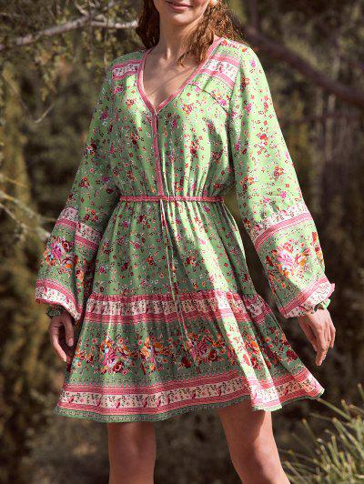 Button Loop Poet Sleeve Bohemian Floral Dress - Light Green S