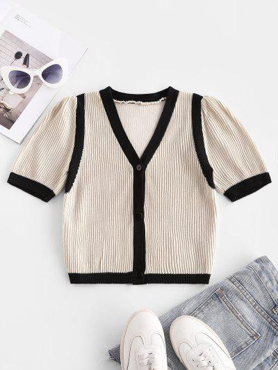 Colorblock Ribbed Short Sleeve Crop Cardigan - Light Coffee