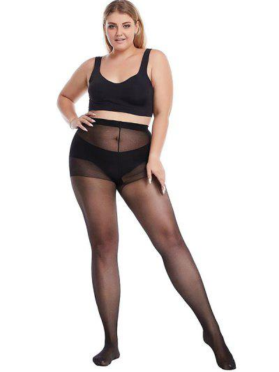 High Elastic Plus Size Sexy Mesh Tights - 검정