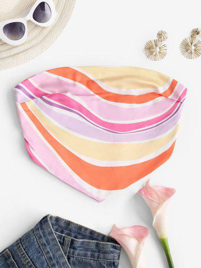 Strapless Colorful Striped Silky Bandana Top - Multi L
