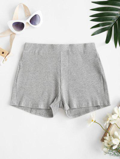 High Waisted Ribbed Marl Shorts - Gray S