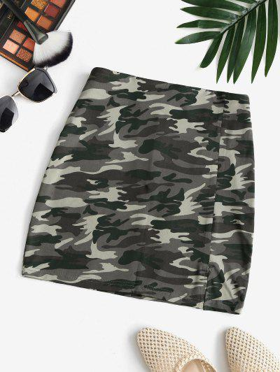 Camo Split Hem Mini Skirt - Multi M