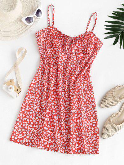 Vestido Ditsy Impressão Floral Com Ditsy Para Verão - Vermelho Xl