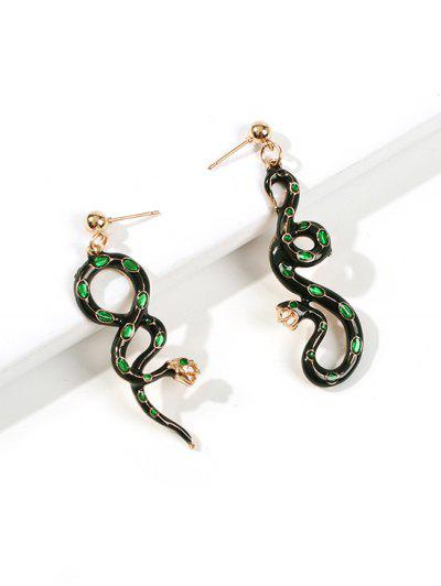 Snake Shape Asymmetric Exaggerated Drop Earrings - Black