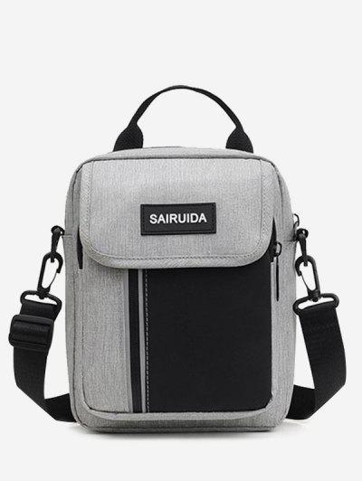 Reflective Square Double Compartment Shoulder Bag - Gray