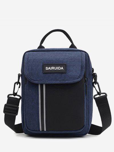 Reflective Square Double Compartment Shoulder Bag - Deep Blue