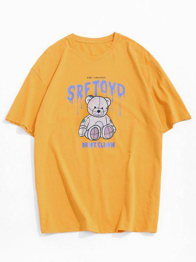 Drip Letter Bear Pattern Short Sleeve T-shirt - Yellow M