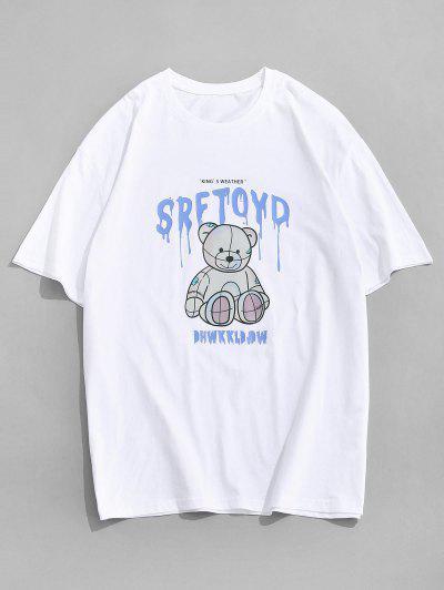 Drip Buchstabe Bär Muster Kurzarm T-Shirt - Weiß M