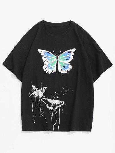 Painting Splash Butterfly Short Sleeve Tee - Black Xxl