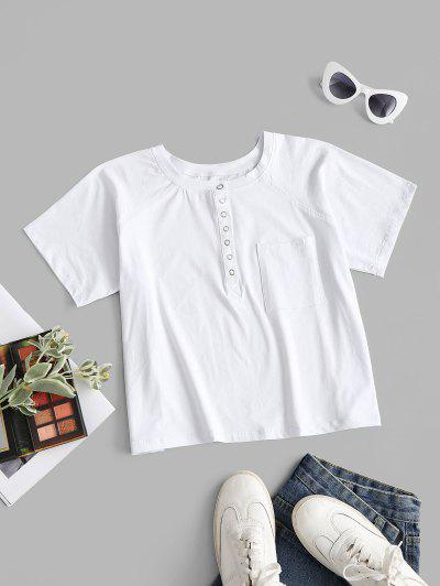 Front Pocket Snap Button Basic Tee - White L