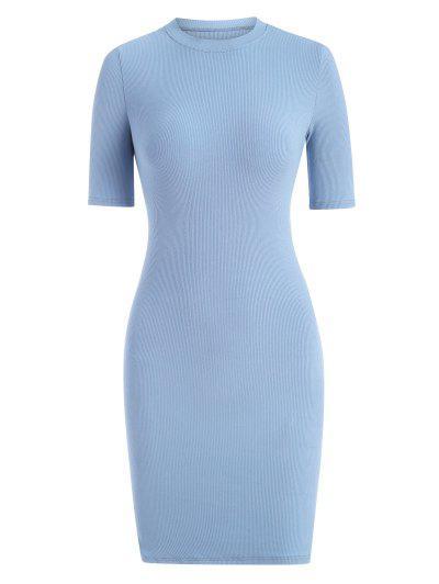Rib-knit Slinky Bodycon Tee Dress - Light Blue L