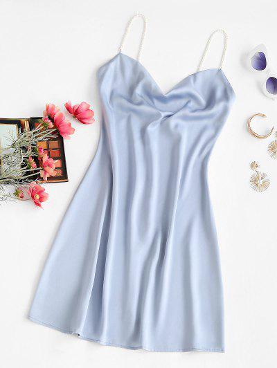Faux Pearl Straps Cowl Neck Mini Dress - Light Blue S