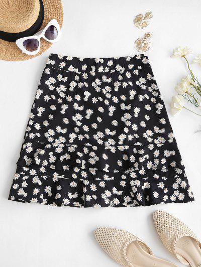 Daisy Print Ruffles Mini Skirt - Black M
