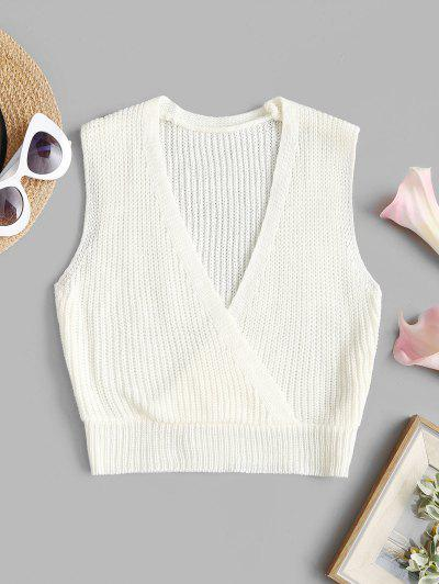 Surplice-front Knit Sleeveless Crop Top - White