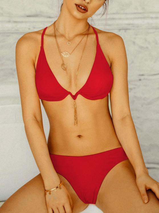 ZAFUL Bikini Incrociato con Ferretto - Rosso L