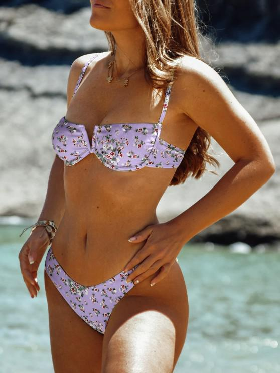 fashion ZAFUL Ditsy Print V Cut Underwire Bikini Swimsuit - LIGHT PURPLE M