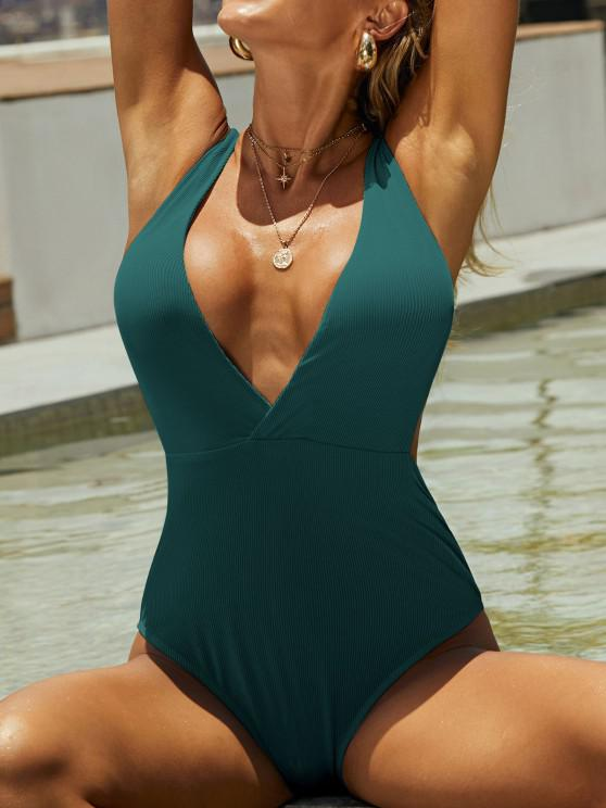 fancy ZAFUL Ribbed Surplice-front Monokini Swimsuit - PEACOCK BLUE S