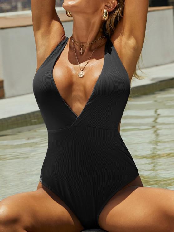 sale ZAFUL Ribbed Surplice-front Monokini Swimsuit - BLACK M