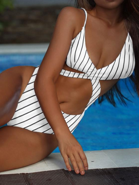affordable ZAFUL Ribbed Striped Criss Cross Backless One-piece Swimsuit - WHITE L