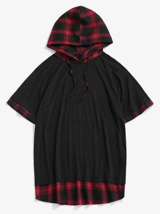 new Spliced Plaid Drawstring Casual Hooded T-Shirt - RED XXL