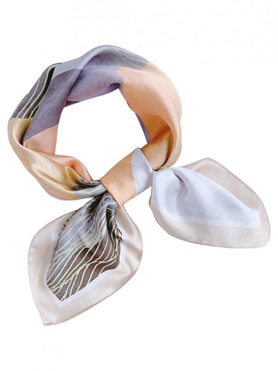Mountain Print Square Faux Silk Scarf - مشمش
