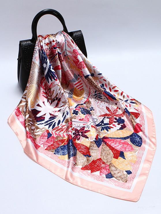 Floral Print Sqaure Faux Silk Scarf - وردي فاتح