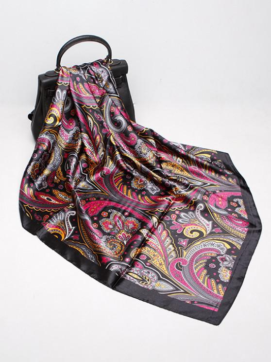 hot Paisley Print Faux Silk Square Scarf - BLACK