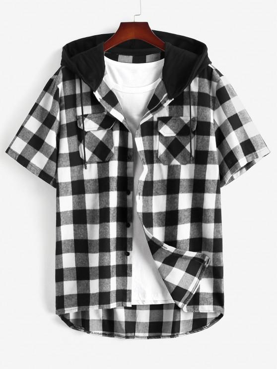 women Plaid Print Front Pocket Hooded Shirt - BLACK XXL