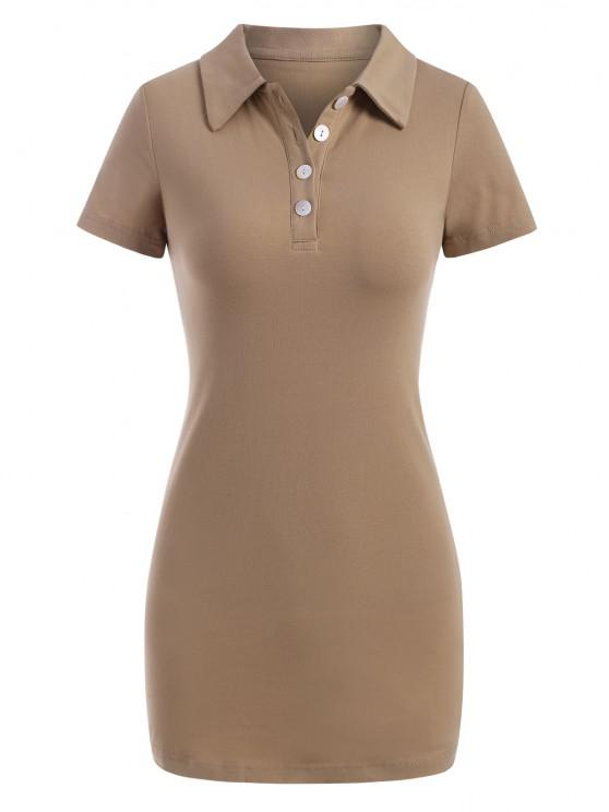 Half Button Slinky Mini Tee Dress - القهوة الخفيفة M
