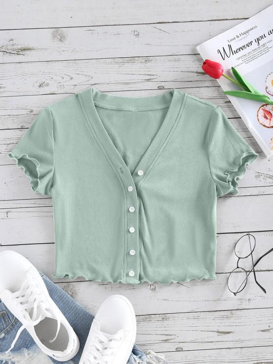 women's ZAFUL Lettuce Trim Button Up Ribbed Cropped Tee - LIGHT GREEN S