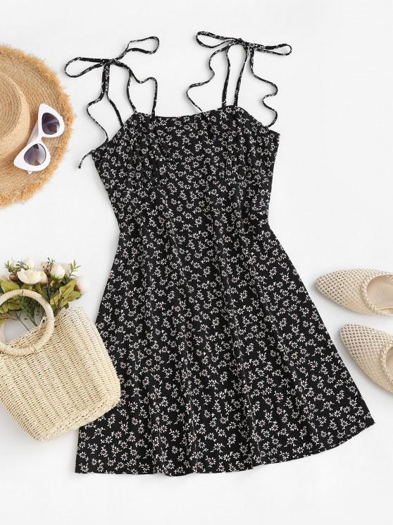 latest ZAFUL Tie Shoulder Tiny Floral Mini Dress - BLACK M