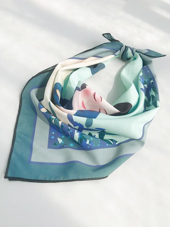 Figure Print Square Faux Silk Mini Scarf - ضوء البحر الاخضر