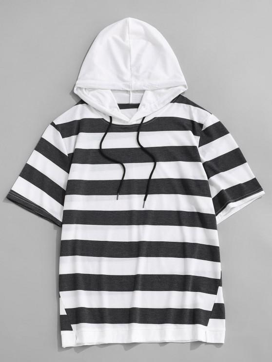 Striped Drawstring Short Sleeve Hooded T-Shirt - الرمادي الداكن M