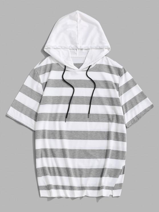 Camisola com Capuz de Mangas Curtas com Cordão - Cinza claro L
