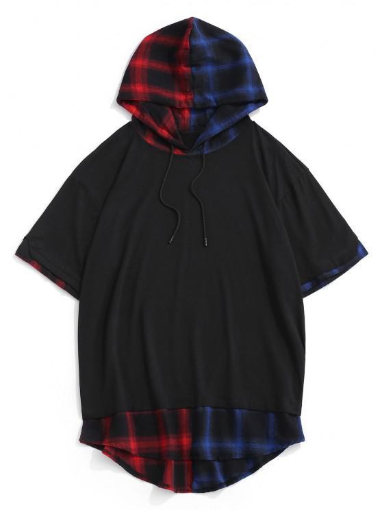 Colorblock Spliced Plaid Hooded T-Shirt - أسود M