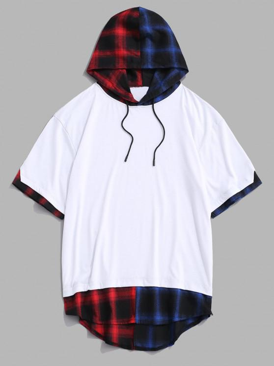 womens Colorblock Spliced Plaid Hooded T-Shirt - WHITE M