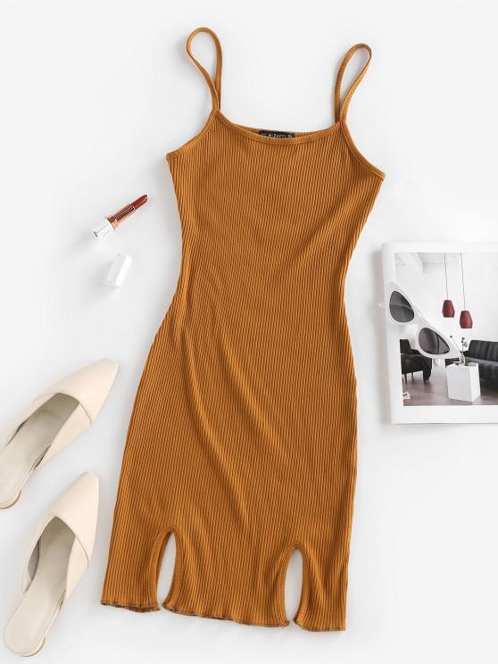 shops ZAFUL Ribbed Slit Bodycon Cami Dress - DEEP YELLOW M