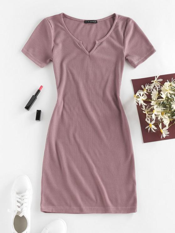 unique ZAFUL Knitted V Notch Bodycon Dress - PURPLE L