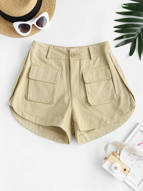 chic High Waisted Front Pockets Cargo Shorts - LIGHT COFFEE M