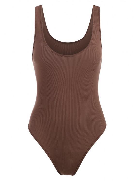 shops Basic Rib-knit Tank Bodysuit - COFFEE S